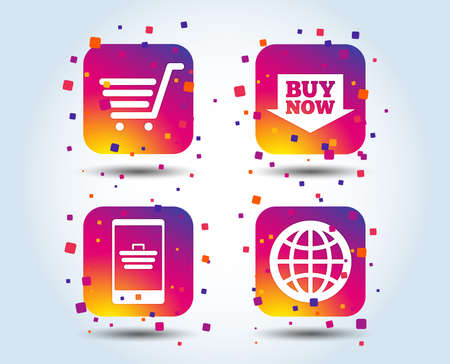 Online shopping icons. Smartphone, shopping cart, buy now arrow and internet signs. WWW globe symbol. Colour gradient square buttons. Flat design concept. Vector