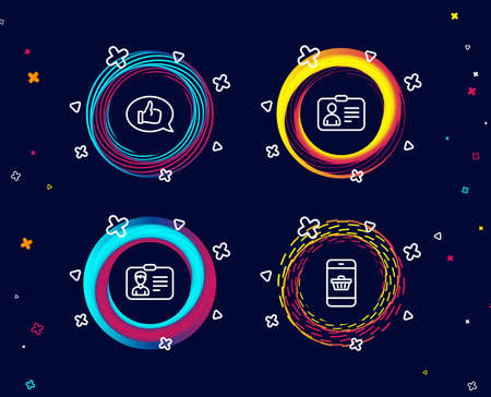 Set of Identification card, Id card and Feedback icons. Smartphone buying sign. Person document, Human document, Speech bubble. Website shopping.  Circle banners with line icons. Vector