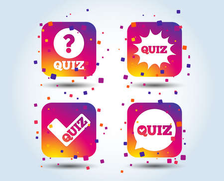 Quiz icons. Speech bubble with check mark symbol. Explosion boom sign. Colour gradient square buttons. Flat design concept. Vector