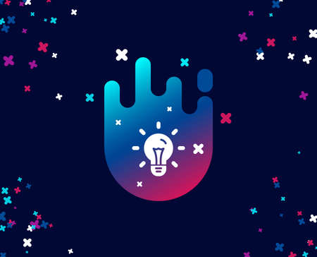 Idea simple icon. Light bulb sign. Copywriting symbol. Cool banner with icon. Abstract shape with gradient. Vector Illustration