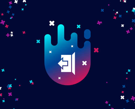 Logout arrow simple icon. Sign out symbol. Navigation pointer. Cool banner with icon. Abstract shape with gradient. Vector  イラスト・ベクター素材