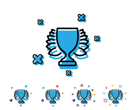 Award cup line icon. Winner Trophy with Laurel wreath symbol. Sports achievement sign. Line icon with geometric elements. Bright colourful design. Vector Çizim