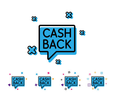 Cashback service line icon. Money transfer sign. Speech bubble symbol. Line icon with geometric elements. Bright colourful design. Vector Illustration