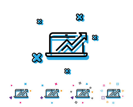 Data Analysis and Statistics line icon. Report graph or Chart sign. Computer data processing symbol. Line icon with geometric elements. Bright colourful design. Vector