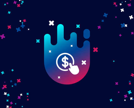Hand Click simple icon. Currency exchange sign. Cursor pointer symbol. To pay or get money. Cool banner with icon. Abstract shape with gradient. Vector