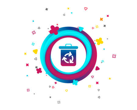 Recycle bin icon. Reuse or reduce symbol. Colorful button with icon. Geometric elements. Vector Vettoriali