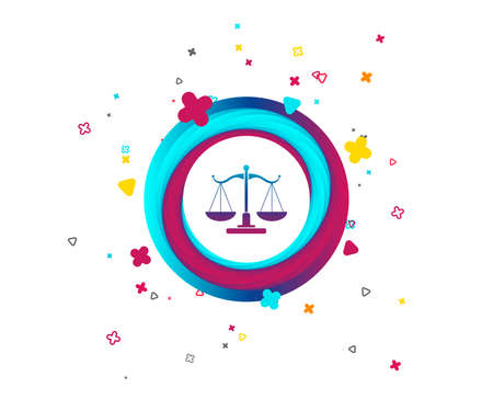 Scales of Justice sign icon. Court of law symbol. Colorful button with icon. Geometric elements. Vector