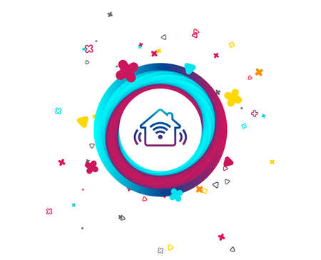 Smart home sign icon. Smart house button. Remote control. Colorful button with icon. Geometric elements. Vector