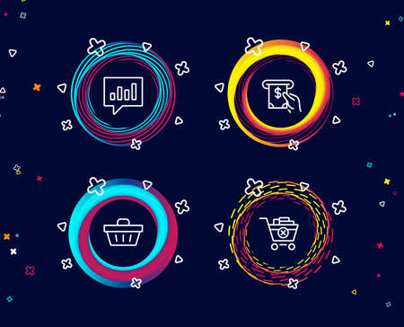 Set of Analytical chat, Atm service and Shopping basket icons. Remove purchase sign. Communication speech bubble, Cash investment, Sale offer. Delete from cart.  Circle banners with line icons
