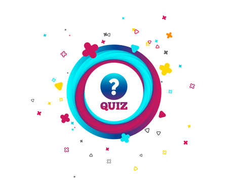 Quiz with question mark sign icon. Questions and answers game symbol. Colorful button with icon. Geometric elements. Vector