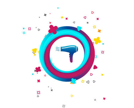 Hairdryer sign icon. Hair drying symbol. Blowing hot air. Turn on. Colorful button with icon. Geometric elements. Vector