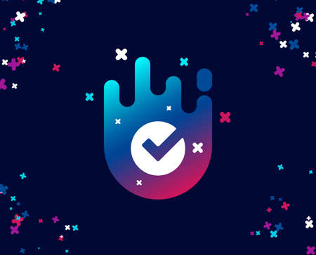 Check simple icon. Approved Tick sign. Confirm, Done or Accept symbol. Cool banner with icon. Abstract shape with gradient. Vector Çizim