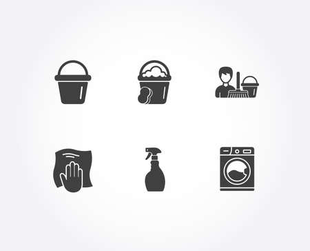 Set of Bucket, Washing cloth and Spray icons. Cleaning service, Sponge and Washing machine signs. Wipe with a rag, Bucket with mop, Laundry service.  Quality design elements. Classic style. Vector
