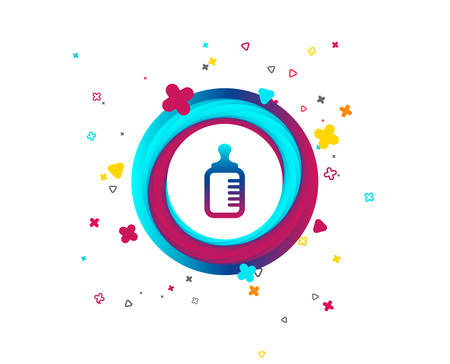 Baby milk bottle icon. Child food symbol. Colorful button with icon. Geometric elements. Vector Иллюстрация