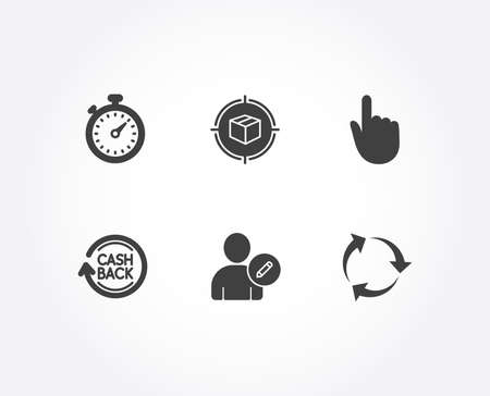 Set of Hand click, Cashback and Timer icons. Parcel tracking, Edit user and Recycle signs. Location pointer, Refund commission, Stopwatch gadget. Box in target, Profile data, Recycling waste. Vector Illusztráció