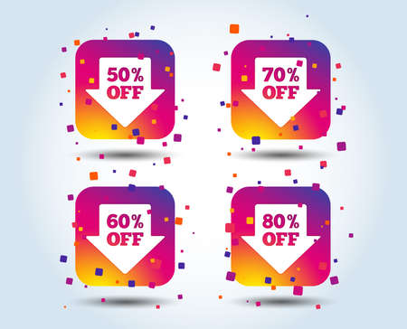 Sale arrow tag icons. Discount special offer symbols. 50%, 60%, 70% and 80% percent off signs. Colour gradient square buttons. Flat design concept. Vector Illustration