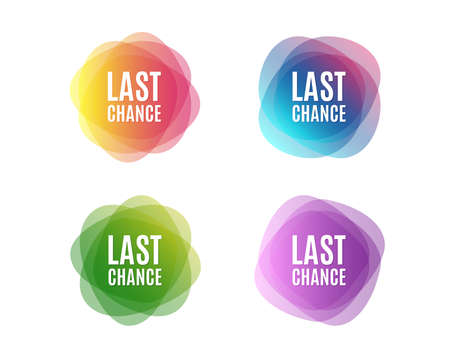 Last chance Sale. Special offer price sign. Advertising Discounts symbol. Colorful round banners. Overlay colors shapes. Abstract design concept. Vector Çizim