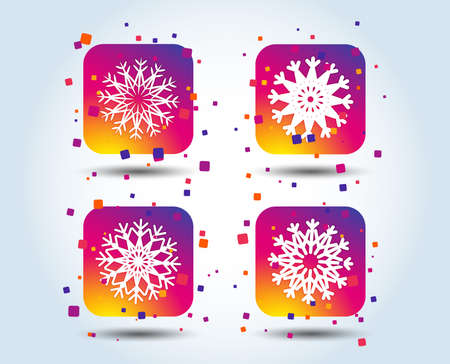 Snowflakes artistic icons. Air conditioning signs. Christmas and New year winter symbols. Frozen weather. Colour gradient square buttons. Flat design concept. Vector