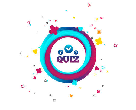 Quiz with check and question marks sign icon. Questions and answers game symbol. Colorful button with icon. Geometric elements. Vector