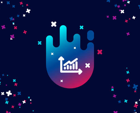 Chart simple icon. Report graph or Sales growth sign. Analysis and Statistics data symbol. Cool banner with icon. Abstract shape with gradient. Vector Illusztráció