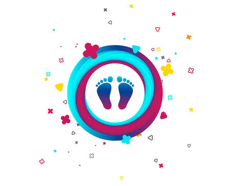 Child pair of footprint sign icon. Toddler barefoot symbol. Colorful button with icon. Geometric elements. Vector Illustration