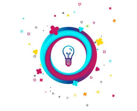 Light bulb icon. Lamp E14 screw socket symbol. Illumination sign. Colorful button with icon. Geometric elements. Vector Ilustração