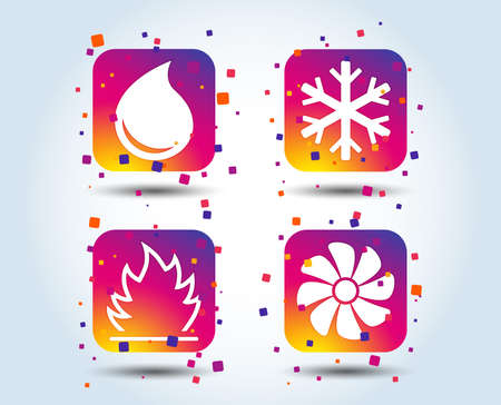 HVAC icons. Heating, ventilating and air conditioning symbols. Water supply. Climate control technology signs. Colour gradient square buttons. Flat design concept. Vector 일러스트