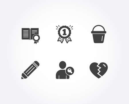 Set of Diploma, Find user and Pencil icons. Reward, Bucket and Break up signs. Document with badge, Search person, Edit data. First place, Washing equipment, Divorce.  Quality design elements. Vector