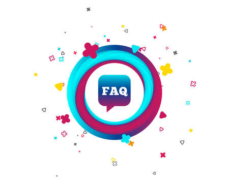 FAQ information sign icon. Help speech bubble symbol. Colorful button with icon. Geometric elements. Vector  イラスト・ベクター素材