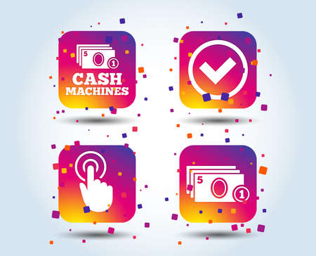 ATM cash machine withdrawal icons. Click here, check PIN number, processing and cash withdrawal symbols. Colour gradient square buttons. Flat design concept. Vector
