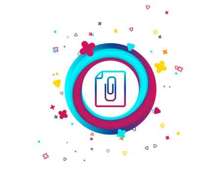 File annex icon. Paper clip symbol. Attach symbol. Colorful button with icon. Geometric elements. Vector