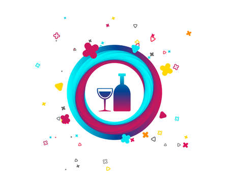 Alcohol sign icon. Drink symbol. Bottle with glass. Colorful button with icon. Geometric elements. Vector