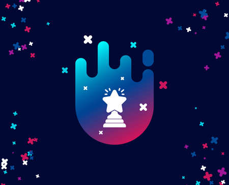 Rank star simple icon. Success reward symbol. Best result sign. Winner cup. Cool banner with icon. Abstract shape with gradient. Vector Çizim