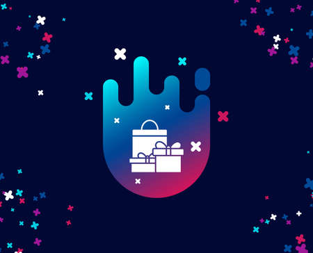 Gift boxes with bag simple icon. Present or Sale sign. Birthday Shopping symbol. Package in Gift Wrap. Cool banner with icon. Abstract shape with gradient. Vector Illustration