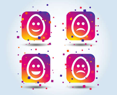 Eggs happy and sad faces icons. Crying smiley with tear symbols. Tradition Easter Pasch signs. Colour gradient square buttons. Flat design concept. Vector