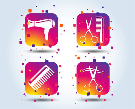 Hairdresser icons. Scissors cut hair symbol. Comb hair with hairdryer sign. Colour gradient square buttons. Flat design concept. Vector