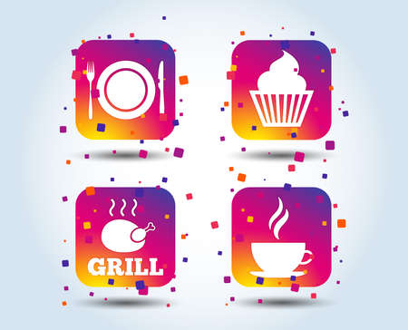 Food and drink icons. Muffin cupcake symbol. Plate dish with fork and knife sign. Hot coffee cup. Colour gradient square buttons. Flat design concept. Vector