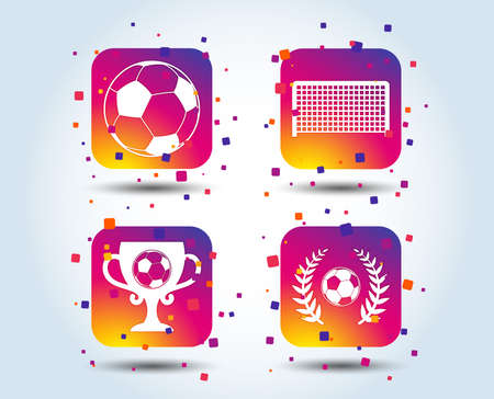 Football icons. Soccer ball sport sign. Goalkeeper gate symbol. Winner award cup and laurel wreath. Colour gradient square buttons. Flat design concept. Vector