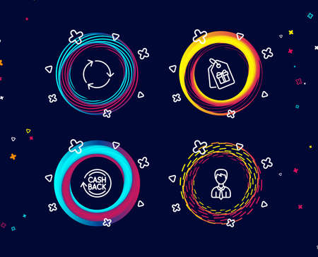 Set of Coupons, Cashback and Recycling icons. Businessman sign. Shopping tags, Refund commission, Reduce waste. User data.  Circle banners with line icons. Gradient colors shapes. Vector Illusztráció
