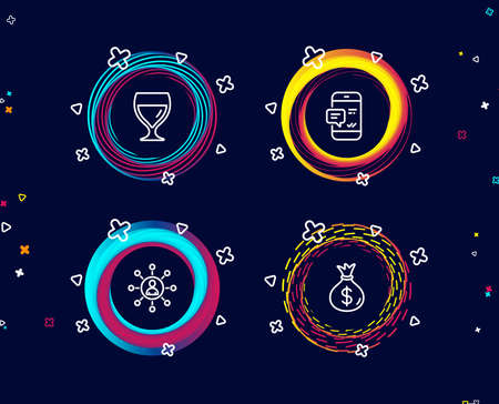 Set of Wine glass, Networking and Smartphone notification icons. Money bag sign. Cabernet wineglass, Business communication, Chat message. Usd currency.  Circle banners with line icons. Vector Illustration