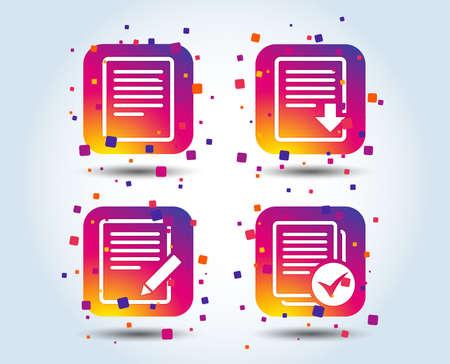 Icônes de document de fichier. Téléchargez le symbole du fichier. Modifier le contenu avec un signe de crayon. Sélectionnez le fichier avec la case à cocher. Boutons carrés de dégradé de couleur. Concept de design plat. Vecteur Vecteurs