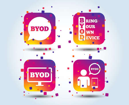 BYOD icons. Human with notebook and smartphone signs. Speech bubble symbol. Colour gradient square buttons. Flat design concept. Vector  イラスト・ベクター素材