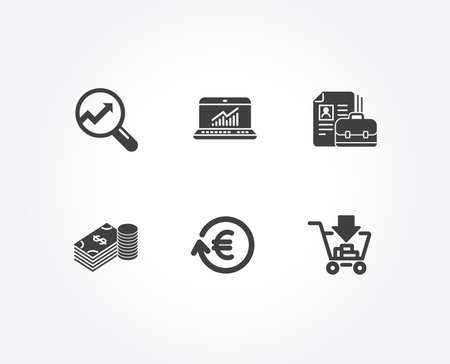 Set of Exchange currency, Online statistics and Savings icons. Vacancy, Analytics and Shopping signs. Reshresh exchange rate, Computer data, Finance currency. Hiring job, Audit analysis, Add to cart Vektorové ilustrace