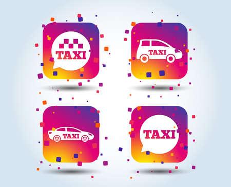 Public transport icons. Taxi speech bubble signs. Car transport symbol. Colour gradient square buttons. Flat design concept. Vector