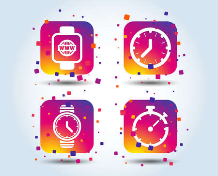 Smart watch with internet icons. Mechanical clock time, Stopwatch timer symbols. Wrist digital watch sign. Colour gradient square buttons. Flat design concept. Vector Illustration