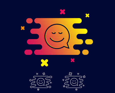 Comic speech bubble with Smile line icon. Chat emotion sign. Gradient banner with line icon. Abstract shape. Vector