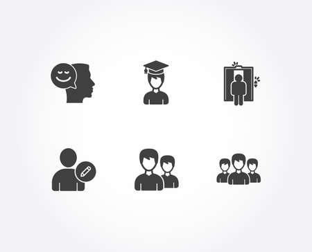 Set of Elevator, Student and Couple icons. Edit user, Good mood and Group signs. Lift, Graduation cap, Two male users. Profile data, Positive thinking, Group of people.  Quality design elements Illustration