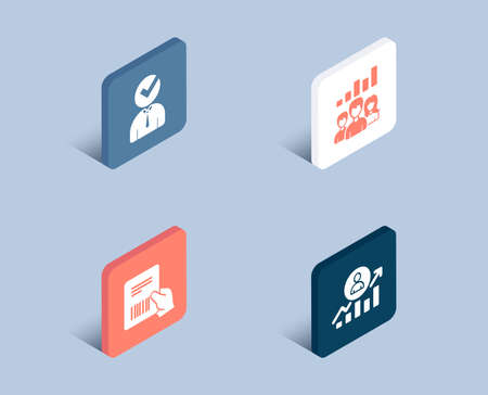 Set of Vacancy, Teamwork results and Parcel invoice icons. Career ladder sign. Businessman concept, Group work, Delivery document. Manager results.  3d isometric buttons. Flat design concept. Vector Ilustrace