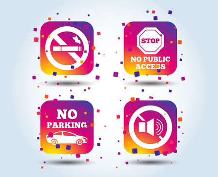 Stop smoking and no sound signs. Private territory parking or public access. Cigarette symbol. Speaker volume. Colour gradient square buttons. Flat design concept. Vector