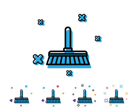 Cleaning mop line icon. Sweep or Wash a floor symbol. Washing Housekeeping equipment sign. Line icon with geometric elements. Bright colourful design. Vector